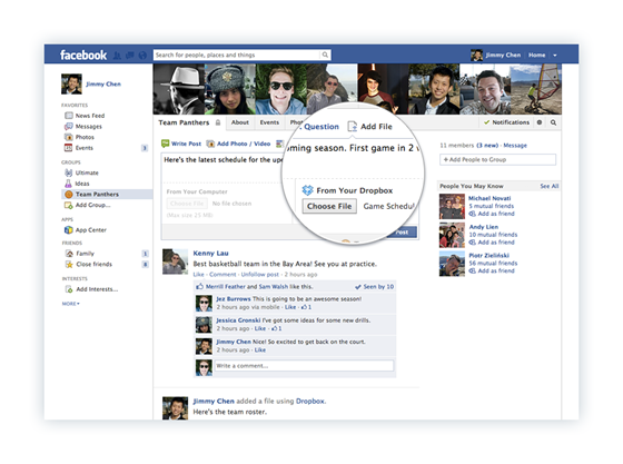 Share Dropbox files through Facebook