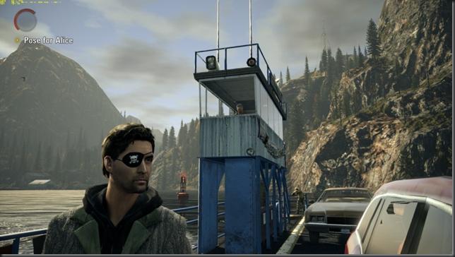 Alan Wake pirated video game with eye patch