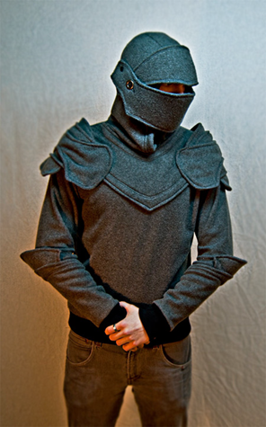 Grey Knight Armored Hoodie with Armored facemask down