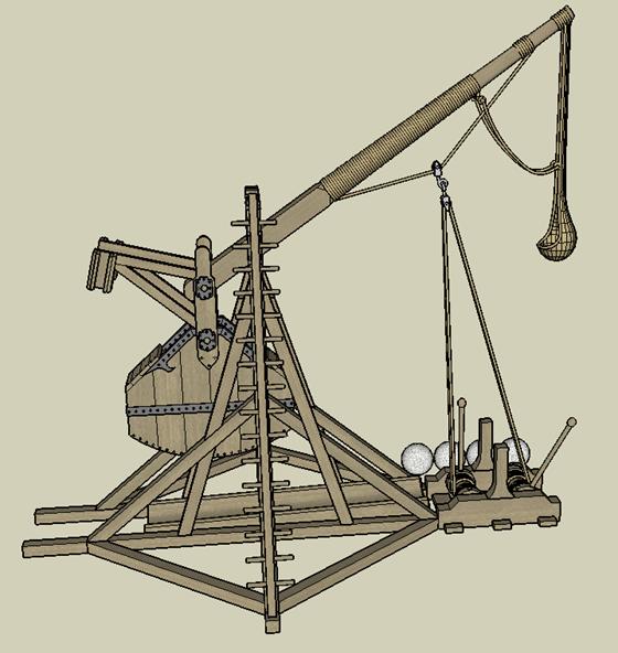 Tebuchet (Catapult) - side view