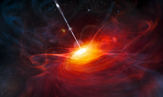 Illustration of quasar surround galaxy central black hole