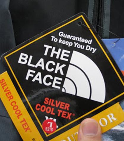 The Black Face - North Face parody logo