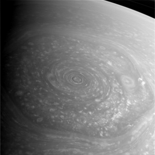 Odd hexagon shaped storm system on Saturn