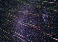 Meteor shower and streaks across the sky
