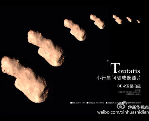 Flyby images from Toutatis asteroid