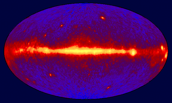 Image of entire sky in 100 MeV or greater gamma rays as seen by the EGRET instrument aboard the CGRO spacecraft.
