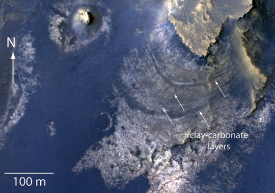 Layers with Carbonate Content Inside McLaughlin Crater on Mars