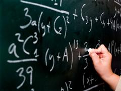 Mathematics (math) on a chalkboard