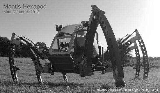 Mantis - two-ton diesel-powered hexapod robot machine