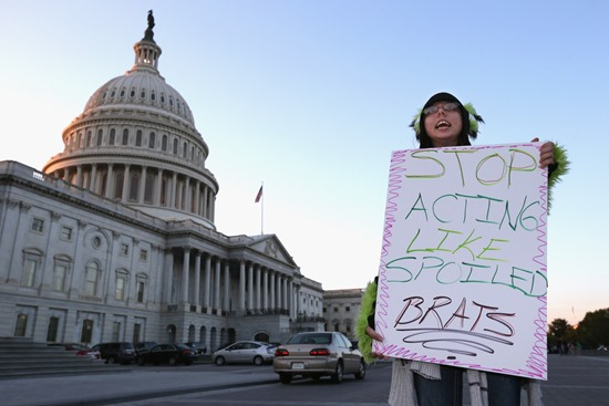Citizens protest the United States government shutdown over Obamacare