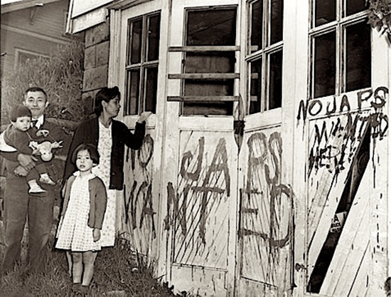 Japanese family returns to vandalized home following World War II