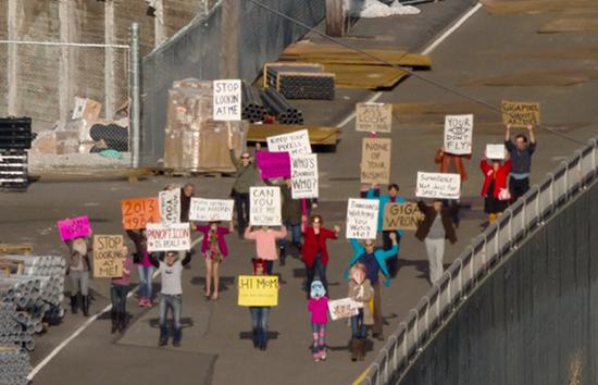 """Protestors"" in Microsoft'f Gigapixel Seattle image"