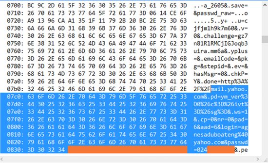 Example of data leaked by the Heartbleed bug