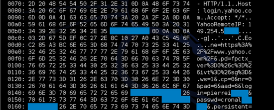 Example of data leaked by the Heartbleed vulnerability