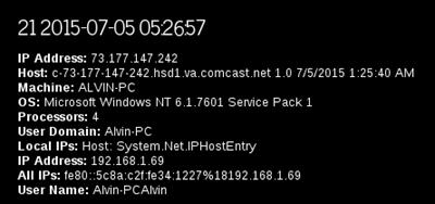 Sample security scanner output captured identifying information for Tor user