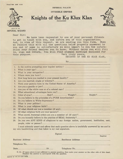 Original Knights of the Ku Klux Klan (KKK) application (1921)