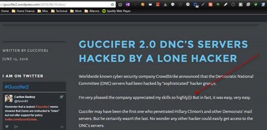 Guccifer 2.0 web page shows distinct Russian characteristics