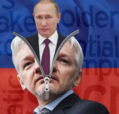 Vladimir Putin emerging from Julian Assange's head