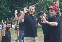 Proud Boys in there black and yellow trimmed Fred Perry polo shirts