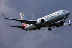 American Airlines Boeing 737 Max 8 airplane in flight