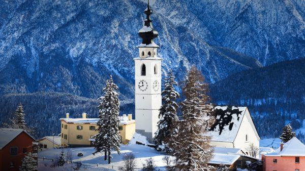fresh snow at the village of ftan scuol lower engadine canton of graubünden switzerland