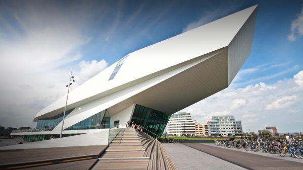 futuristic modern building of eye filmmuseum amsterdam netherlands