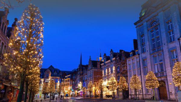 oude markt in leuven during christmas evening flemish region belgium