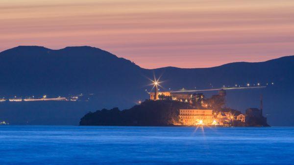 the devil island alcatraz in san francisco bay at sunset california usa