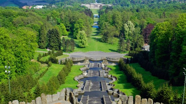 view from the hercules monument at bergpark wilhelmshöhe kassel hesse germany