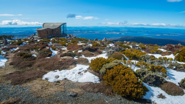 wind shelter on the top to mount wellington hobart tasmania australia