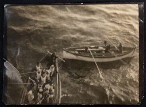 Photo of Titanic's lifeboat no 6 arriving alongside R.M.S. Carpathia