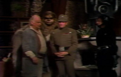 Imperial soldiers searching Chewbacca's home in the Star Wars Holiday Special