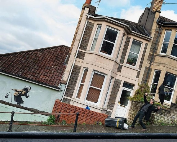 Banksy mural on Bristol home - Vale Street in Totterdown - close
