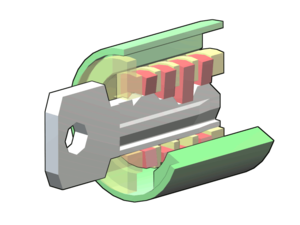 A wafer lock with the key inserted